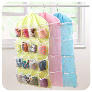 16 Pockets Clear Over Door/Wardrobe Hanging Bag Shoe Rack Hanger Underwear Bra Socks Closet Storage Organizer- 3 Pack, Random Color