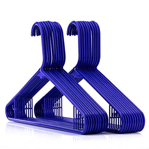 HANGERWORLD 20 Blue 16inch Plastic All Purpose Coat Clothes Garment Pant Skirt Bar Hangers Loop Hooks