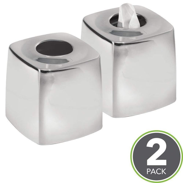 Cheap mdesign metal square facial tissue box cover holder for bathroom vanity countertops bedroom dressers night stands desks and tables 2 pack polished stainless steel