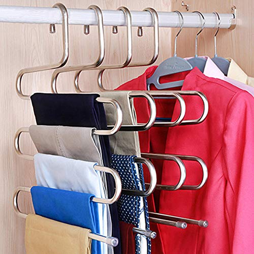 Qinju 2 Pack Pants Hangers 5 Layers S-Shape Stainless Steel Closet Space Saving for Pants Scarf Tie Towel Belt