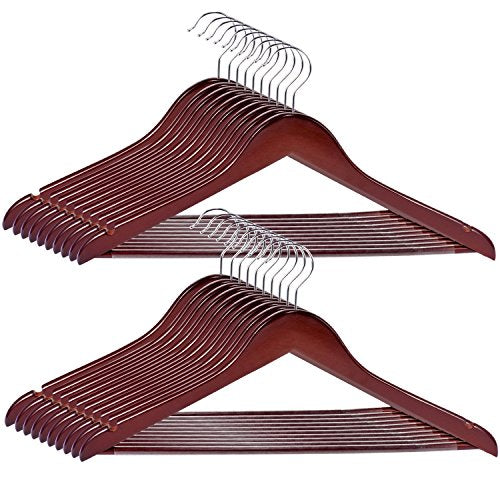 RoyalHanger Wood Hangers 20-Pack, Suit Hangers Coat Hanger Wooden Hangers for Pants Skirt Coat Trouser, Non-Slip, Walnut Finish