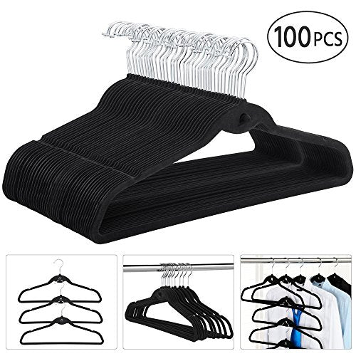 go2buy 100 Pack Non Slip Velvet Hangers Clothes Hangers with Cascading Hook Black