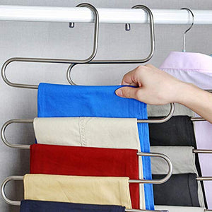 Misszone Pants Hangers S-Type 5 Layers Stainless Steel Multi-Purpose Rack for Trouser and Tower Space Saving