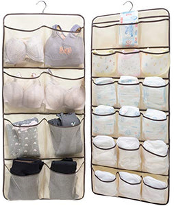SLEEPING LAMB Dual-Sided Hanging Closet Organizer for Underwear, Stocking, Toiletries Accessories, Bra, Sock, 26 Mesh Pockets & Rotating Metal Hanger, Beige
