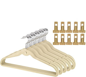 Dead Sea Spa Care Space Saving, Organizational, Cascading Hangers, Cascade Hangers in SAGE - Pack 50 with 10 Pant Clips Space Saving Cascading