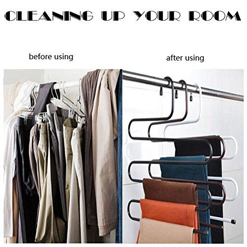 Hunger Metal Multi-fonction S Shape Clothes Closet Hangers Clothing Organizer (black)