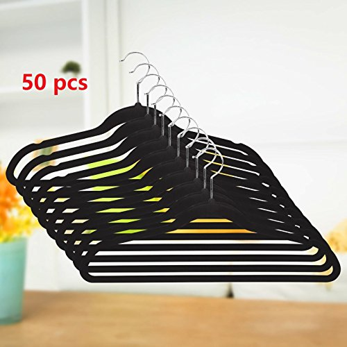 Hindom 50 Pcs Velvet Suit Hangers Space-saving Strong and Durable Non Slip Notched Shoulder Protective Clothing(US STOCK) (Black)