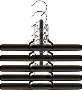 Mawa by Reston Lloyd Non-Slip Space-Saving Clothes Hanger with Clamp For Pants & Skirts, Style M/26, Set of 5, Black