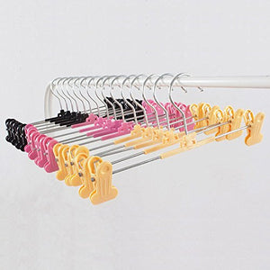 Kexinfan Hanger Colorful Plastic Hanger with Clips for Pants, Skirt and Lingerie (30 Pieces/Lot),Mixed Color