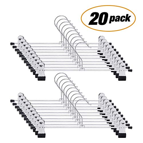 DAVEVY Trouser Hangers, Skirt Hangers with Adjustment Metal Grip Clip, Pant Organizer for Heavy Duty Durable Space Saving- 20 Pack(10pcs,Silver)