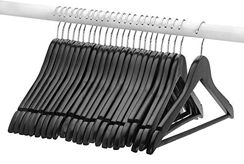 FloridaBrands Wooden Dress Hangers, Black Wood Suit Clothes Hangers with High Grade Extra Smooth Finish & Chrome Hook to Organize Your Wardrobe - (Pack of 16)