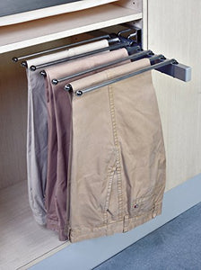 "Pants Rack Pant Hanger, Slide Out Side Mount Satin Nickel, For 15"" or wider spaces, Heavy Duty"