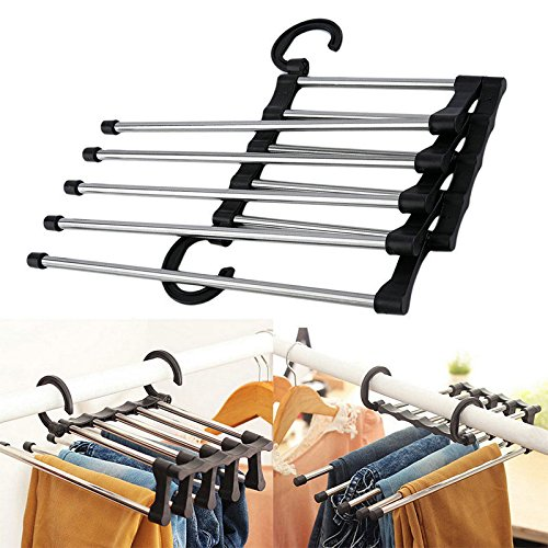 OYJJ Stainless Steel Pant Hangers Skirt Hangers Rack 1 Pack 5 Arms Trouser Hangers Space Saving, Ultra Thin Rust Resistant Hangers Skirts, Pants, Slacks, Jeans More