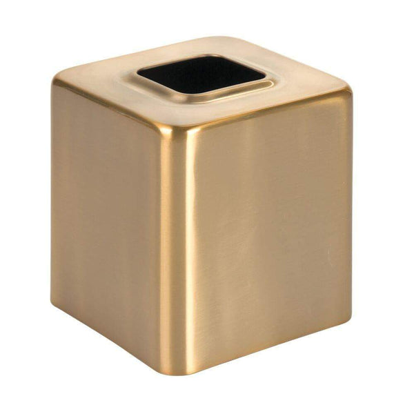 Buy now mdesign modern square metal paper facial tissue box cover holder for bathroom vanity countertops bedroom dressers night stands desks and tables 2 pack soft brass