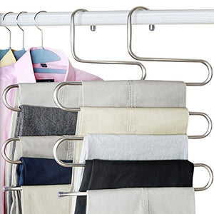 Peiosendor S-type Pants Hangers Multi-Purpose Stainless Steel Magic Closet Hangers Space Saver Storage Rack for Hanging Jeans Scarf Tie Family Economical Storage (2)