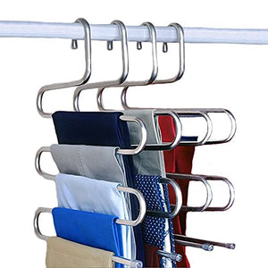 NewShimer S Shaped 5 Tier Pants Hangers Stainless Steel Clothes Hangers Closet Organizer for Scarf, Leggings,Jeans,Towels, Shower (4-Pieces)