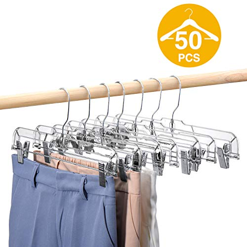 HOUSE DAY 50 Pack 14 inch Clear Plastic Skirt Hangers with Clips, Skirt Hangers, Clip Hangers for Pants,Trouser Bulk Plastic Pants Hangers