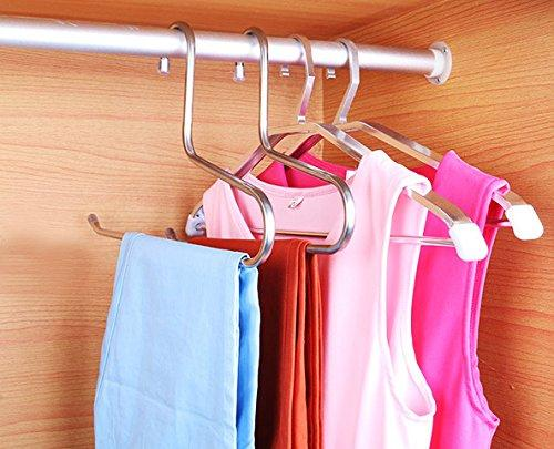YUNAI Stainless Steel Pants Hangers Open Ended Hangers Jean Hangers Heavy Duty Strong Durable Space Saving Slacks Hangers Pack of 3