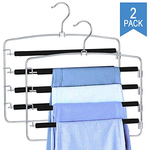 Clothes Pants Slack Hangers Non Slip Closet Storage Organizer Space Saving Hanger with Foam Padded Swing Arm for Pants Jeans Scarf Trousers Skirts (2-Pieces)