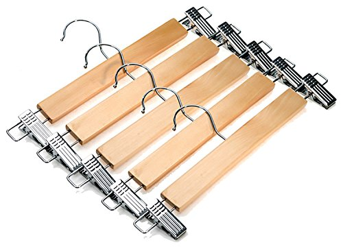 Decor Hut Wooden Skirt/pants Hangers with Swivel Hook Strong Durable Material Silver Clips Wont Snag Clothing Soft Finished Wood Natural Wood Color (5)