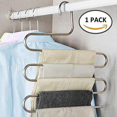 CloversStar 1 Pack Stainless Hanger S Type for Pants Trousers Clothes Towel Scarf Space Saving Closet Organizer 5 Layers
