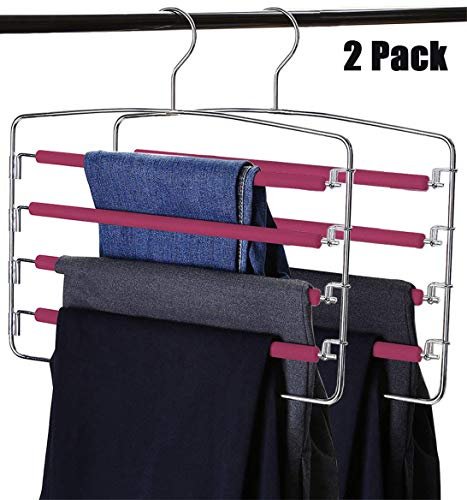 RosinKing Slack Hangers Swing Arm 2 Pack Non Slip Multi Layers Removeable Stainless Steel Jean Hangers with Foam Padded Rotatable Hook for Space Saving Clothes Trousers Closet Organizer