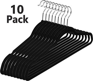 Clothes Hangers- Suit Dress Shirt Black Velvet Hangers Fashion Thin Non Slip Heavy Duty Clothes Velvet Hangers (Pack of 10)