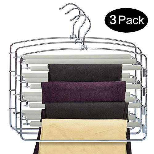 DOIOWN Pants Hangers Slacks Hangers Space Saving Non Slip Stainless Steel Clothes Hangers Closet Organizer for Pants Jeans Trousers Scarf (3-Pack(Grey))