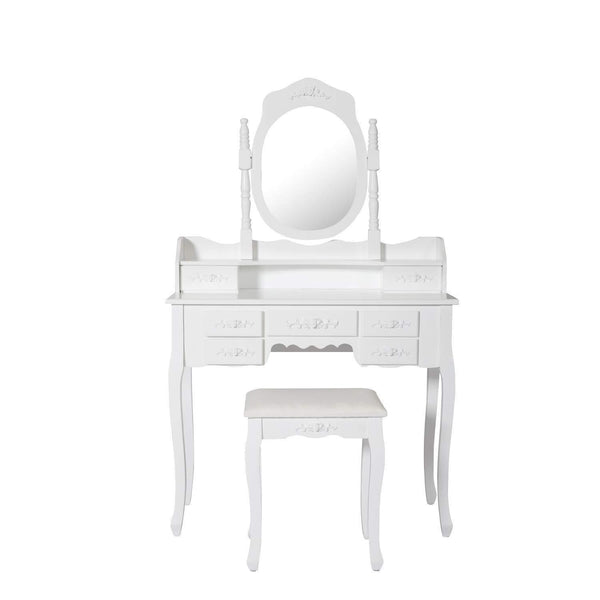 Great kinsuite makeup vanity table set white dressing table stool seat with oval mirror and 7 drawers storage bedroom dresser desk furniture gift for women girl