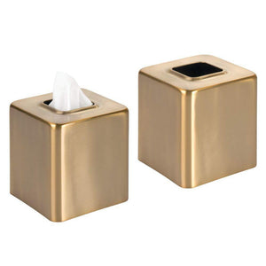 Buy mdesign modern square metal paper facial tissue box cover holder for bathroom vanity countertops bedroom dressers night stands desks and tables 2 pack soft brass