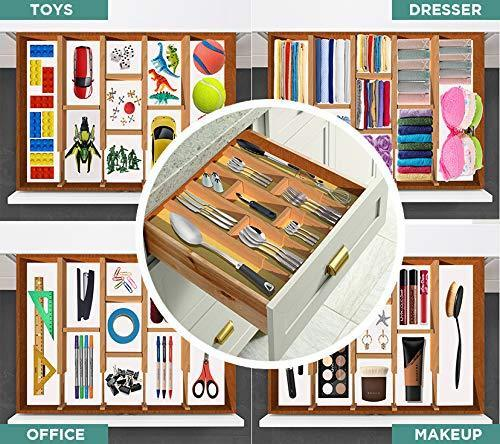On amazon skatco bamboo drawer dividers spring adjustable kitchen drawer organizers set of 4 bamboo drawer organizer drawer divider for the kitchen bedroom dresser office bathroom natural