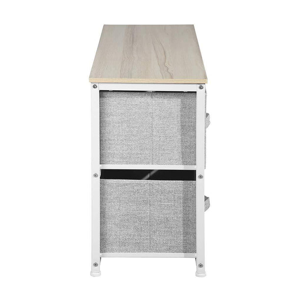 Storage organizer aingoo dresser storage 4 drawers storage bedroom steel frame fabric wide dressers drawers for clothes grey wood board 2x2 drawers grey