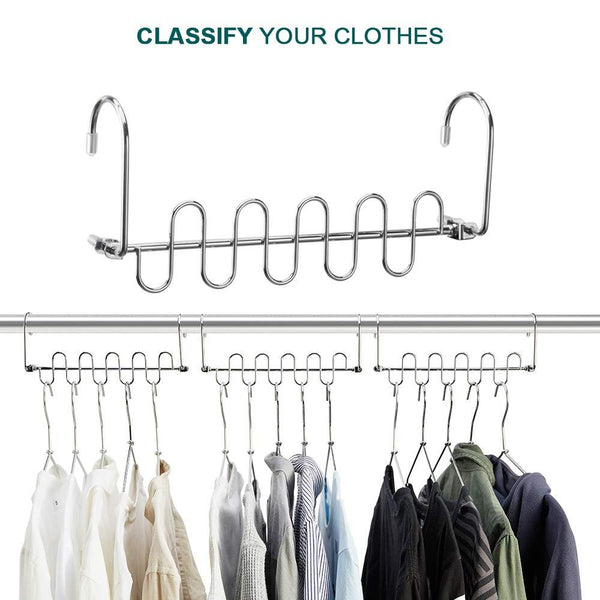 MeetU Magic Cloth Hanger Wonder Space Saving Hangers Metal Closet Organizer for Closet Wardrobe Closet Organization Closet System (Pack of 4)