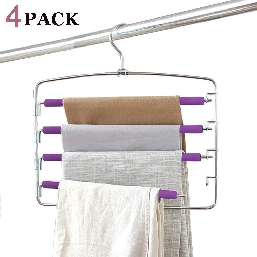 Clothes Pants Hangers 2pack - Multi Layers Metal Pant Slack Hangers,Foam Padded Swing Arm Pants Hangers Closet Storage Organizer for Pants Jeans Scarf Hanging (Purple-4pack)