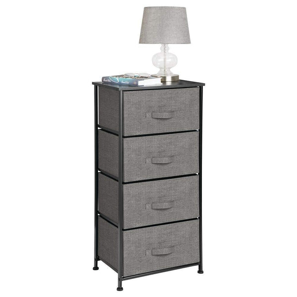 Discover the mdesign vertical dresser storage tower sturdy steel frame wood top easy pull fabric bins organizer unit for bedroom hallway entryway closets textured print 4 drawers charcoal gray black