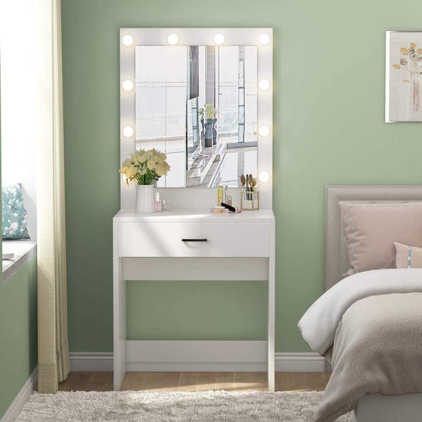 Purchase tribesigns vanity set with lighted mirror makeup vanity dressing table dresser desk with large drawer for bedroom white 10 warm led bulb