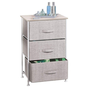 Shop mdesign vertical dresser storage tower sturdy steel frame wood top easy pull fabric bins organizer unit for bedroom hallway entryway closets textured print 3 drawers linen natural