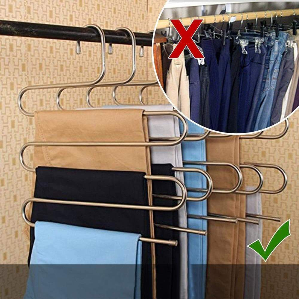 YCAMMIN Pants Hangers S-Type Stainless Steel Trousers Rack/5 Layers Multi-Purpose Closet Hangers Saver Storage Rack for Clothes/Towel/ Scarf/Trousers/ Tie etc(2 Pcs)