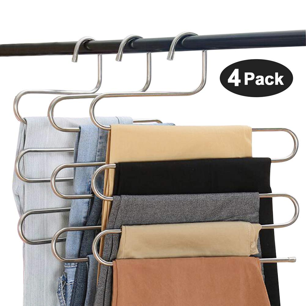 Eityilla S Type Clothes Pants Hangers Stainless Steel Space Saving Hangers 5 Layers Closet Storage Organizer for Jeans Trousers Tie Belt Scarf (4-Pieces)
