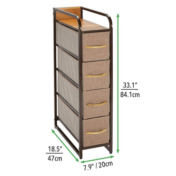 Heavy duty mdesign vertical narrow dresser storage tower sturdy steel frame wood top handles easy pull fabric bins organizer unit for bedroom hallway entryway closets 4 drawers coffee espresso
