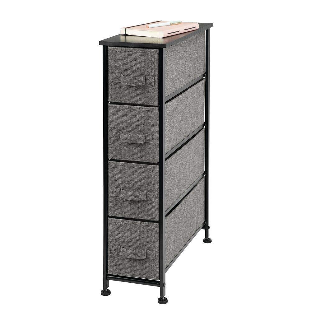 Products mdesign narrow vertical dresser storage tower sturdy metal frame wood top easy pull fabric bins organizer unit for bedroom hallway entryway closet textured print 4 drawers charcoal gray