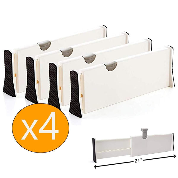 Budget mulyeeh 2 4 pcs expandable drawer dividers adjustable dresser drawer divider separators organize silverware and utensils wardrobe storage organization