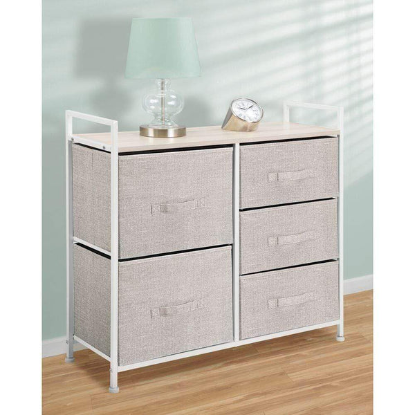 Buy mdesign wide dresser storage tower sturdy steel frame wood top easy pull fabric bins organizer unit for bedroom hallway entryway closets textured print 5 drawers linen tan