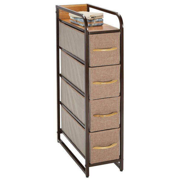 Get mdesign vertical narrow dresser storage tower sturdy steel frame wood top handles easy pull fabric bins organizer unit for bedroom hallway entryway closets 4 drawers coffee espresso