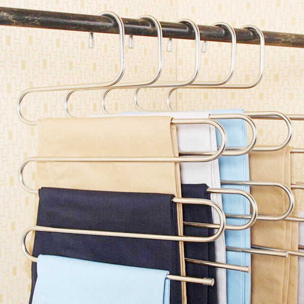 S Shape 5 Bars Pants Hanging Clothes Hanger Stainless Steel Durable Closet Helper