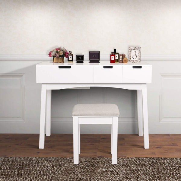 Save on vanity beauty station dresing table vanity set with flip top mirror 1 large organization 2 drawers makeup dresser writing desk white flip mirror