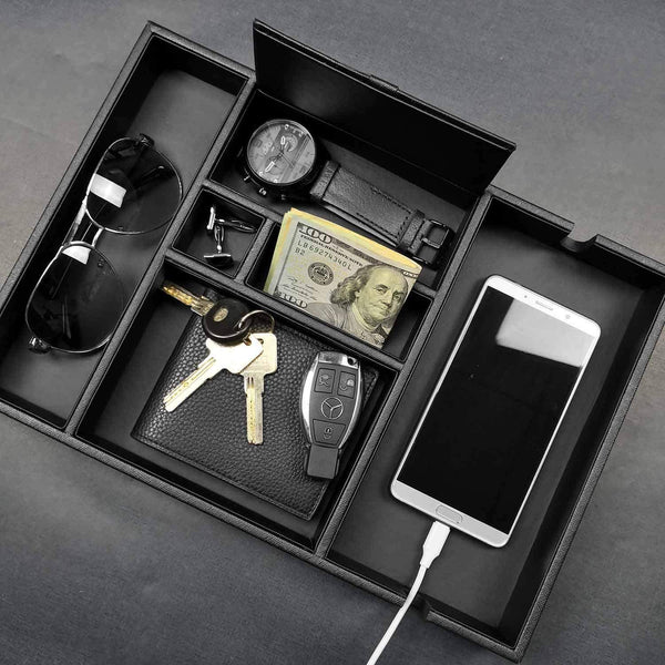 Best lifomenz co mens valet tray with charging station nightstand dresser organizer mens catchall tray for keys phone wallet coin jewelry sunglasses watch