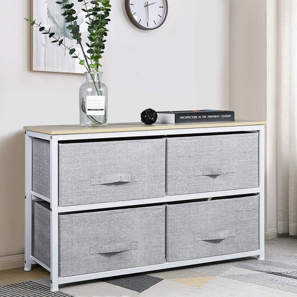 Try aingoo dresser storage 4 drawers storage bedroom steel frame fabric wide dressers drawers for clothes grey wood board 2x2 drawers grey