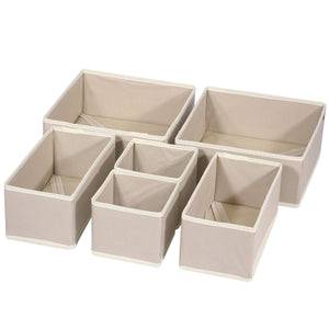 Exclusive diommell 6 pack foldable cloth storage box closet dresser drawer organizer fabric baskets bins containers divider with drawers for clothes underwear bras socks lingerie clothing