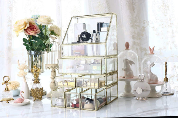 Shop antique spacious mirror glass drawers set vanity dresser gold makeup storage stunning cube beauty display it consists of 4separate organizers dustproof for skincare pallete perfumes brushes makeup